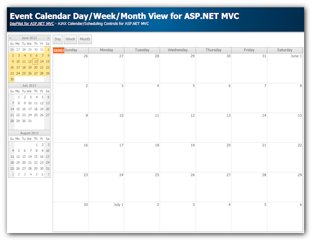 Weekly Calendar Using Javascript : Event calendar with day week month views for asp mvc