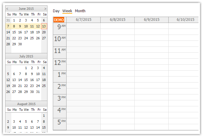 Weekly Calendar Using Javascript : Html calendar with day week month views javascript php